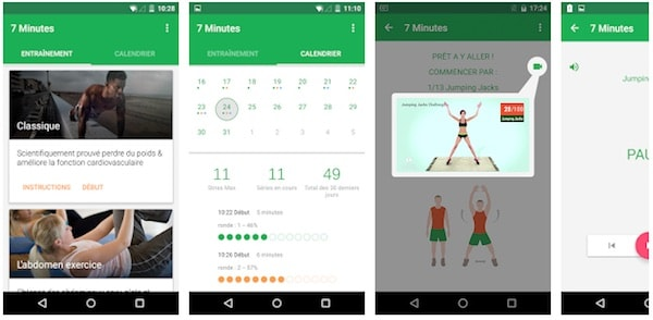 7 minutes workout application android indispensable